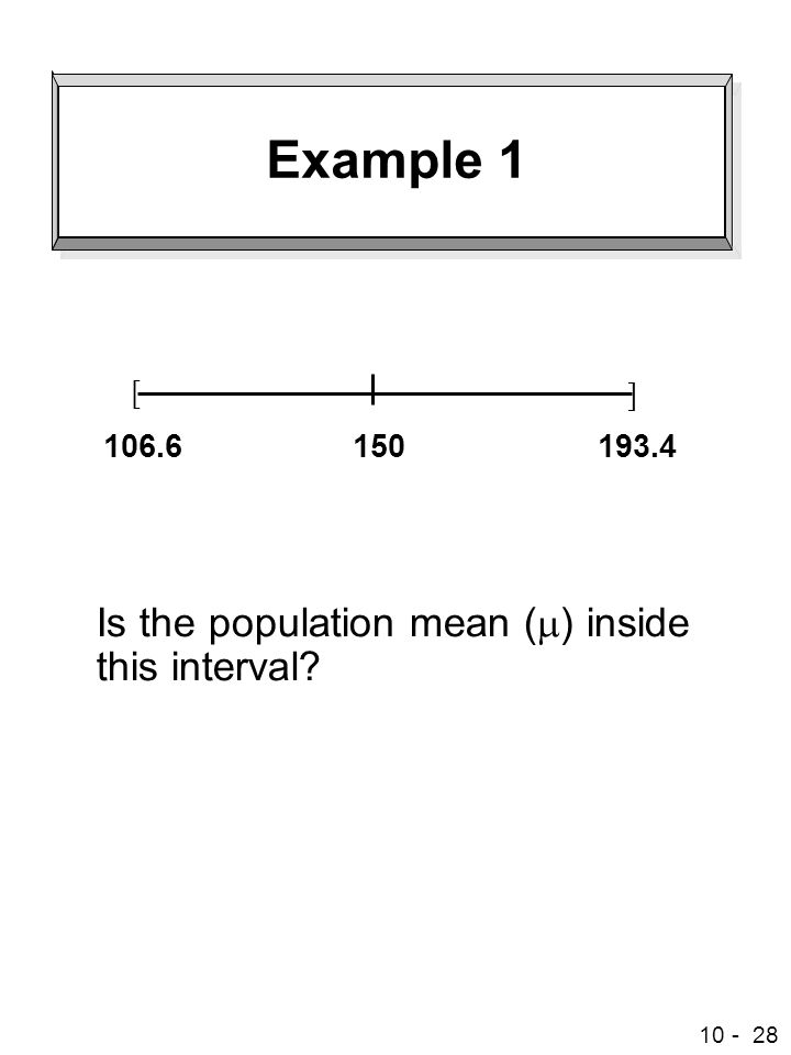 Example 1 Is the population mean (m) inside this interval [ ] 150